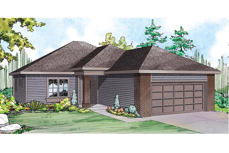Contemporary, Country, Ranch, Traditional House Plan 60935 with 3 Beds , 2 Baths , 2 Car Garage Elevation