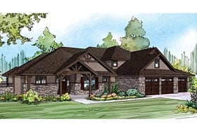 Contemporary Country Craftsman European Traditional House Plan 60936 Elevation