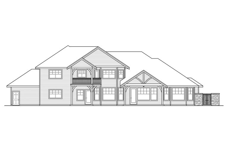 Contemporary Country Craftsman European Traditional House Plan 60936 Rear Elevation