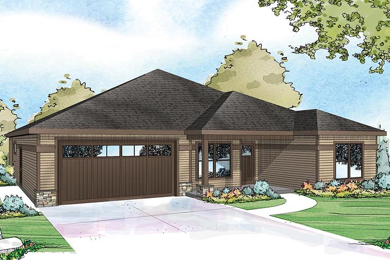 Contemporary Cottage Country Craftsman Ranch House Plan 60938 Elevation