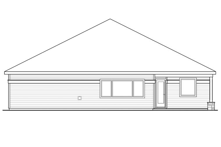 Contemporary Cottage Country Craftsman Ranch House Plan 60938 Rear Elevation