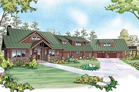 House Plan 60939 | Craftsman Prairie Style Style Plan with 3815 Sq Ft, 3 Bedrooms, 3 Bathrooms, 2 Car Garage Elevation