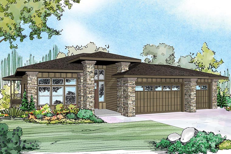 Bungalow craftsman european prairie style house plan 60940 for Craftsman prairie style house plans