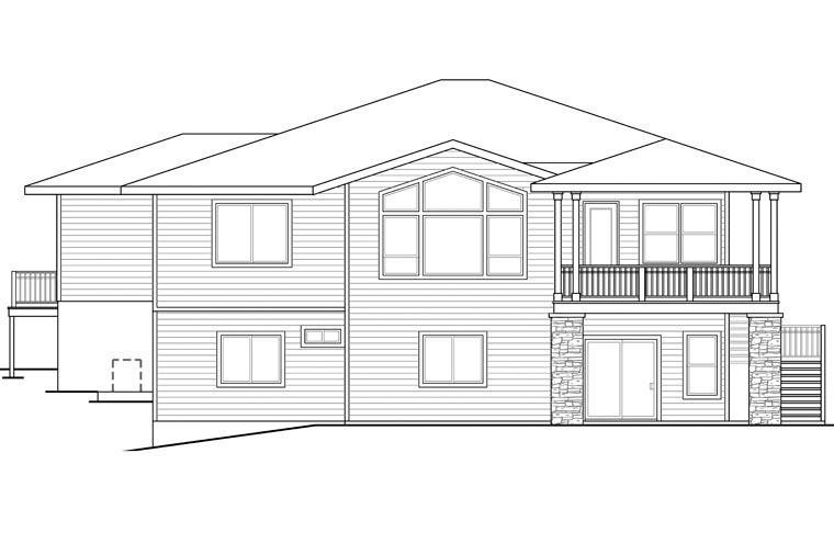 Bungalow Craftsman European Prairie Style House Plan 60940 Rear Elevation