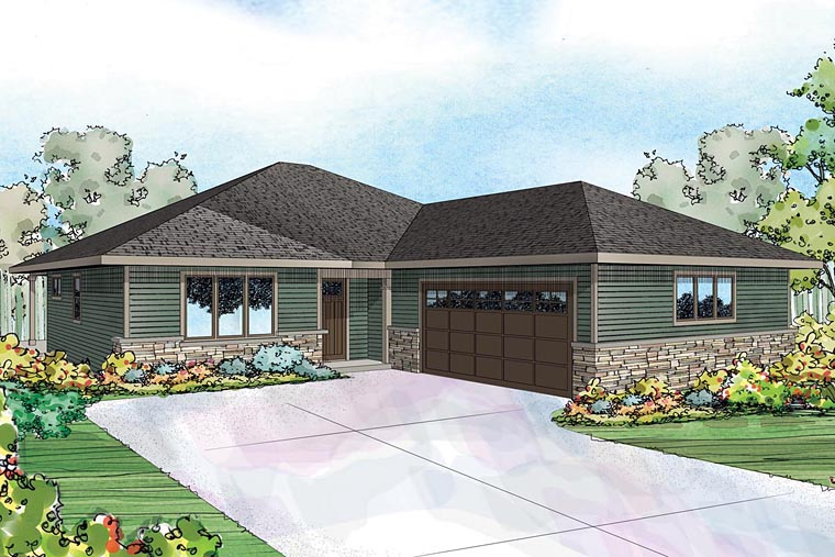 Country Craftsman Prairie Style Ranch Traditional House Plan 60941 Elevation