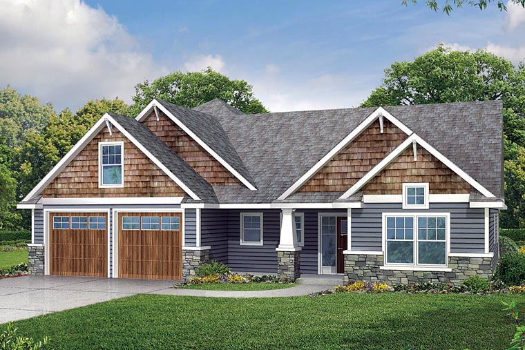 Cape Cod, Cottage, Country, Craftsman House Plan 60942 with 3 Beds, 3 Baths, 2 Car Garage Elevation