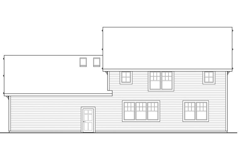 Country Traditional Rear Elevation of Plan 60943