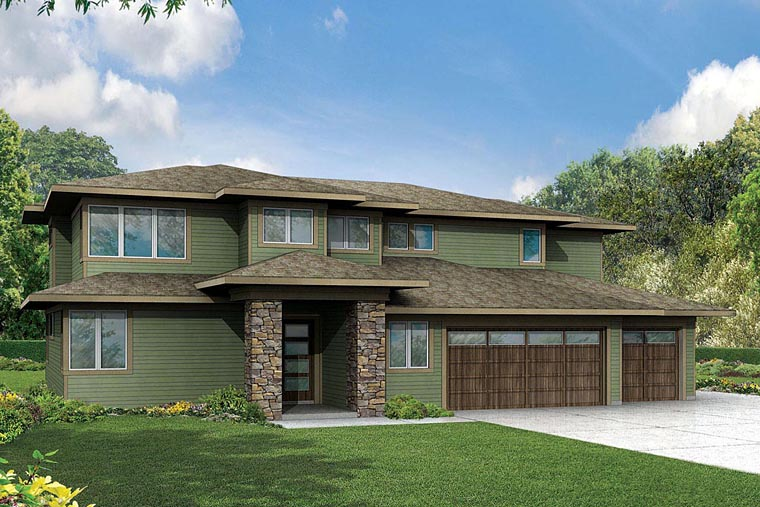 Contemporary Craftsman House Plan 60944 Elevation