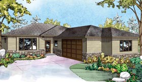 House Plan 60947 | Style Plan with 1611 Sq Ft, 2 Bedrooms, 2 Bathrooms, 2 Car Garage Elevation