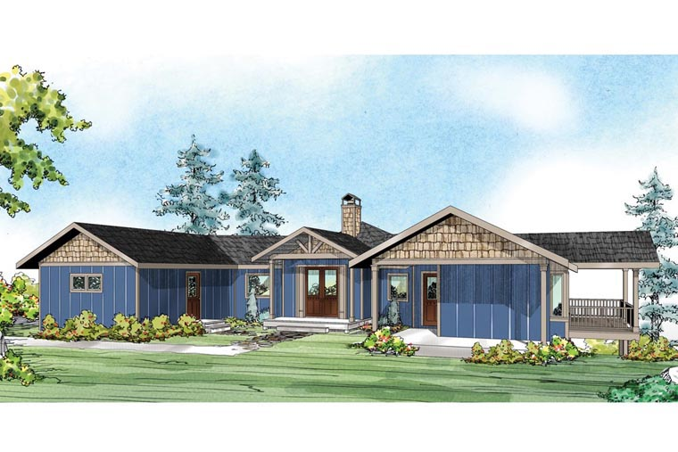 Cape Cod Contemporary Prairie Style Ranch House Plan 60949 Elevation