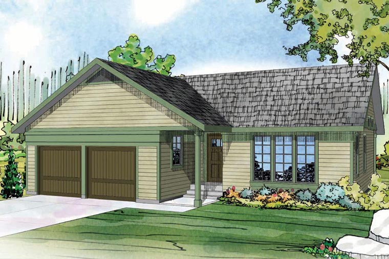 Contemporary, Country, Prairie, Ranch House Plan 60950 with 3 Beds, 2 Baths, 2 Car Garage Elevation