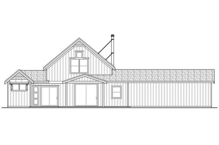 Contemporary Cottage Country Craftsman Ranch House Plan 60951 Rear Elevation