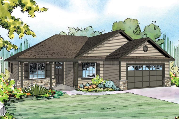 Contemporary Cottage Country Ranch House Plan 60956 Elevation
