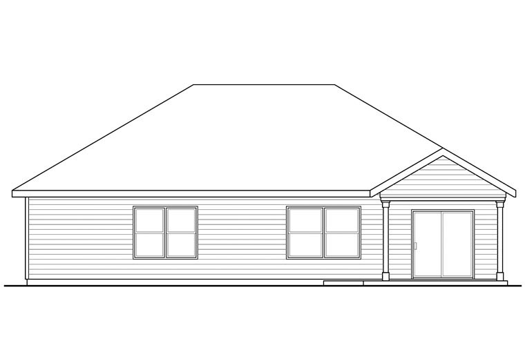 Contemporary Cottage Country Ranch House Plan 60956 Rear Elevation