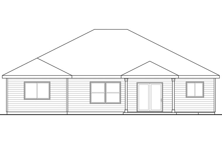 Cape Cod Cottage Ranch House Plan 60957 Rear Elevation