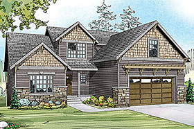 Contemporary Cottage Country Craftsman House Plan 60958 Elevation