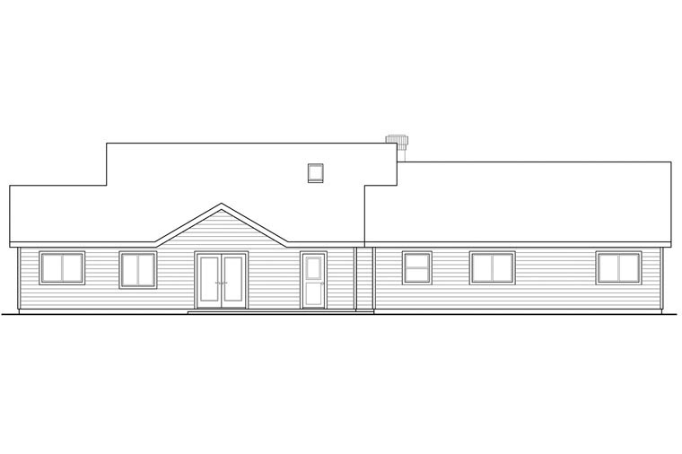 Cottage Country European Traditional House Plan 60959 Rear Elevation