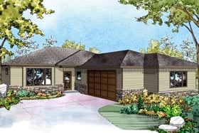 Contemporary Country Ranch Traditional House Plan 60960 Elevation