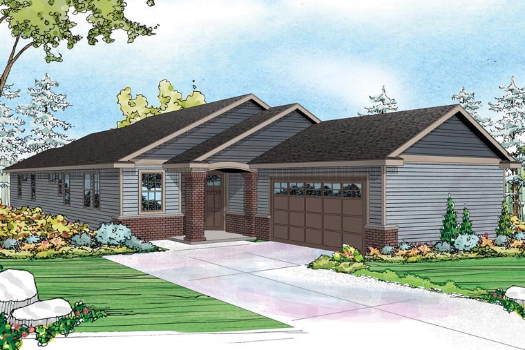 Contemporary Country Ranch Traditional House Plan 60961 Elevation
