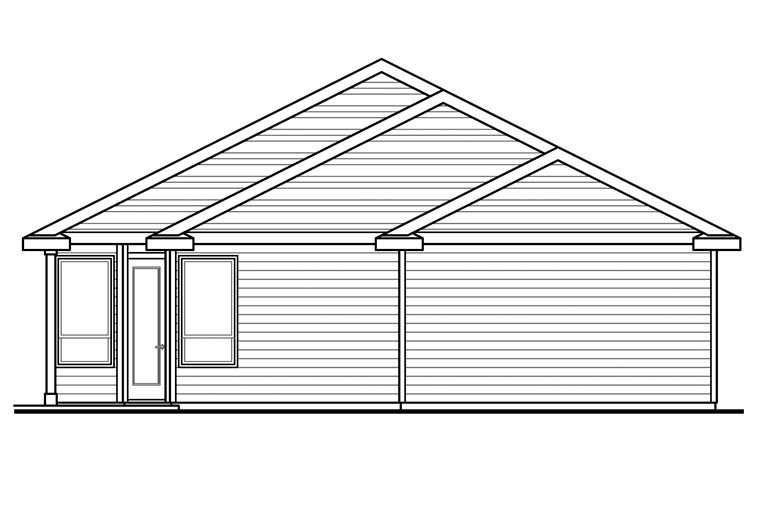 Contemporary Country Ranch Traditional House Plan 60961 Rear Elevation