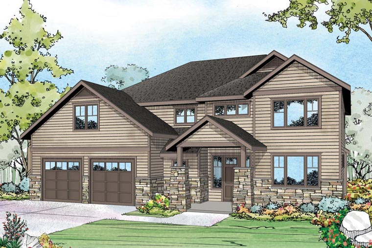 Country Craftsman Traditional House Plan 60964 Elevation