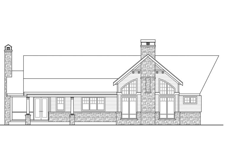 Country Ranch Traditional House Plan 60965 Rear Elevation