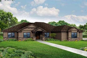 Country Craftsman Ranch Traditional House Plan 60967 Elevation