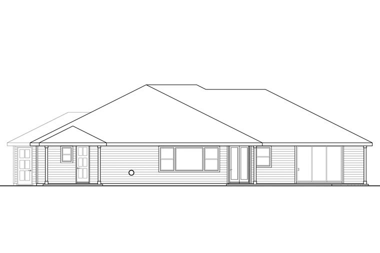 Country Craftsman Ranch Traditional House Plan 60967 Rear Elevation