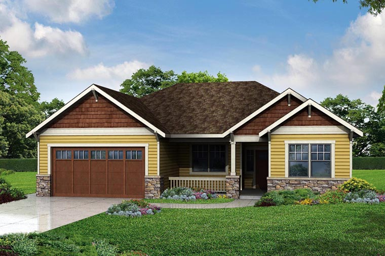 Cottage Country Craftsman Ranch Traditional House Plan 60968 Elevation