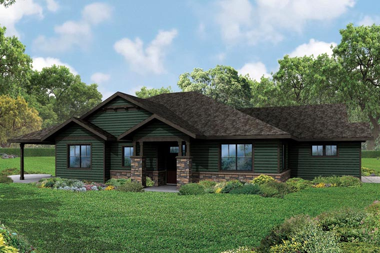 Craftsman Ranch Traditional Elevation of Plan 60970