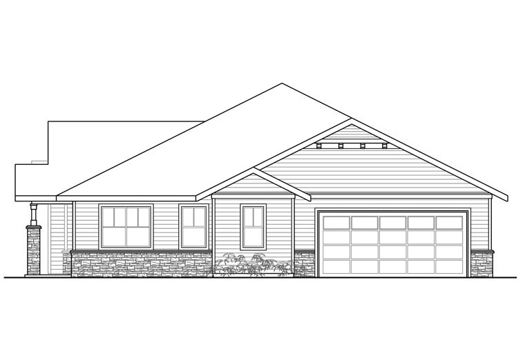 Craftsman, Ranch, Traditional House Plan 60970 with 3 Beds, 2 Baths, 2 Car Garage Picture 2