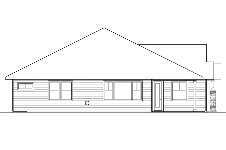 Craftsman Ranch Traditional Rear Elevation of Plan 60970
