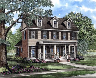 Colonial House Plan 61000 with 3 Beds, 3 Baths, 2 Car Garage Elevation