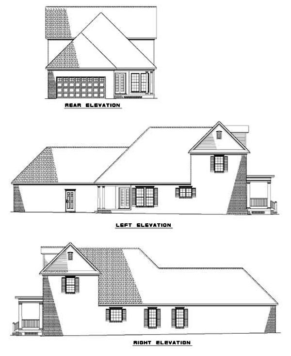 Colonial House Plan 61000 with 3 Beds, 3 Baths, 2 Car Garage Rear Elevation
