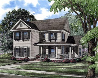 Country Farmhouse Southern House Plan 61001 Elevation