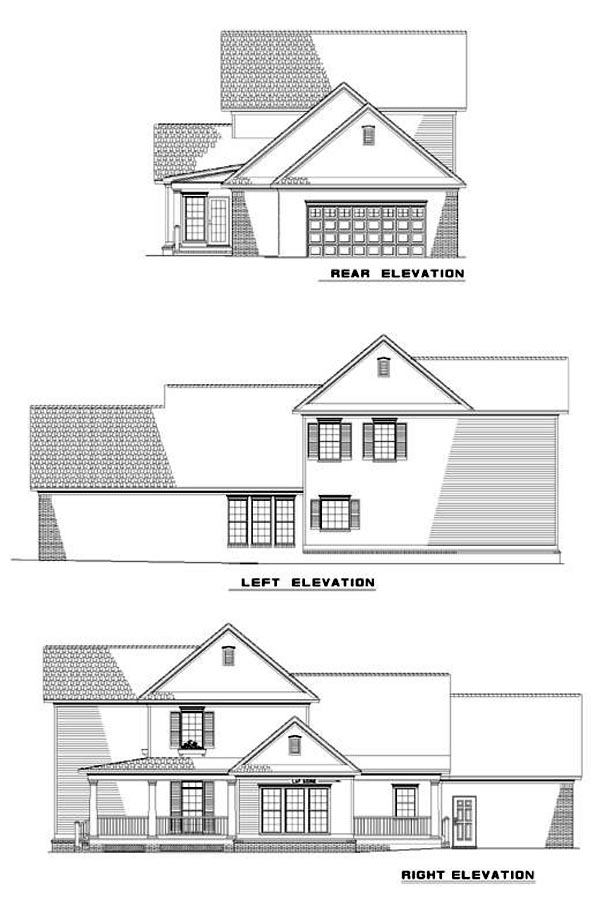 Country Farmhouse Southern House Plan 61001 Rear Elevation