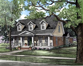 House Plan 61003 | Colonial Country Style Plan with 2286 Sq Ft, 4 Bedrooms, 3 Bathrooms, 2 Car Garage Elevation