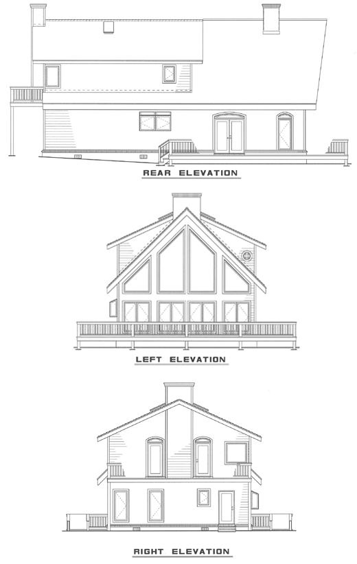 Traditional Rear Elevation of Plan 61006