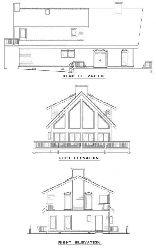 Traditional , Rear Elevation of Plan 61006