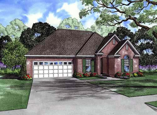 European One-Story Elevation of Plan 61007