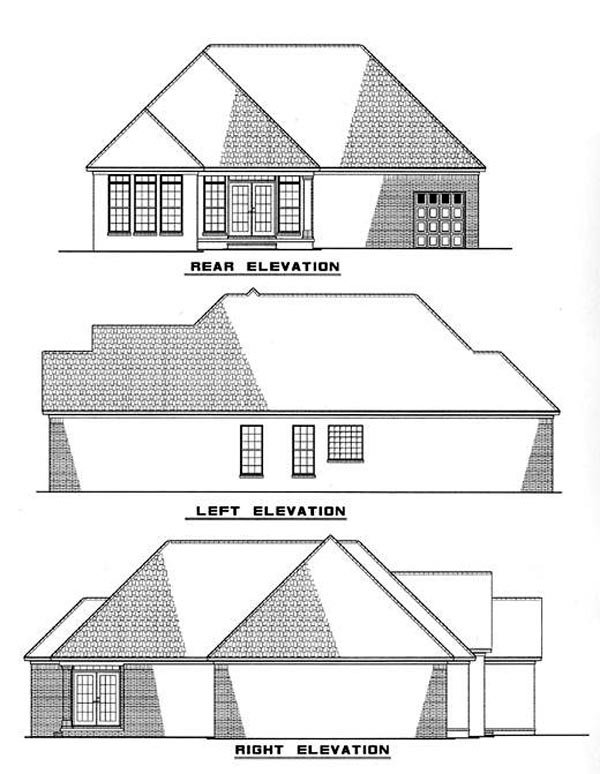 European One-Story Rear Elevation of Plan 61007