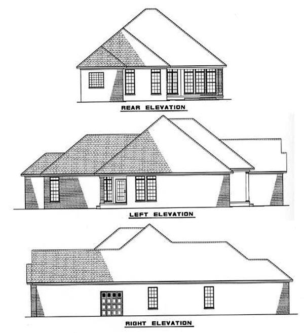 European House Plan 61009 Rear Elevation