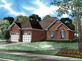 European House Plan 61010 with 3 Beds, 2 Baths, 2 Car Garage Elevation