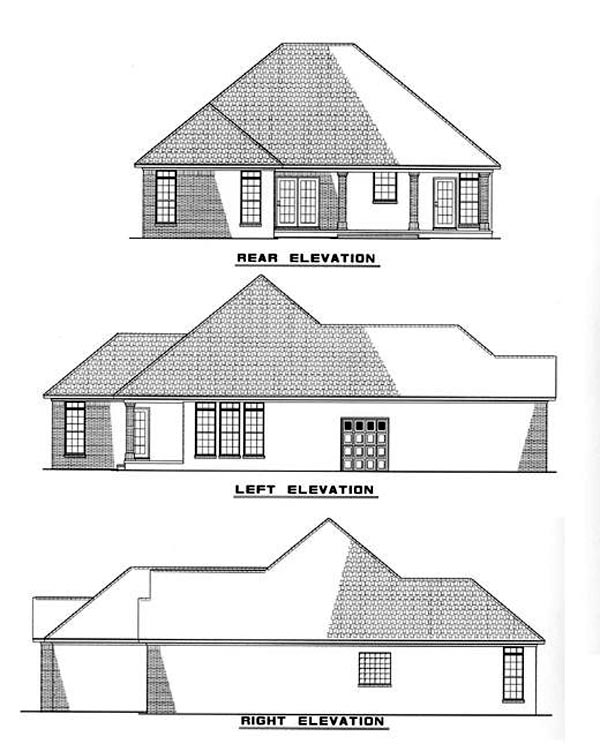 European House Plan 61010 Rear Elevation