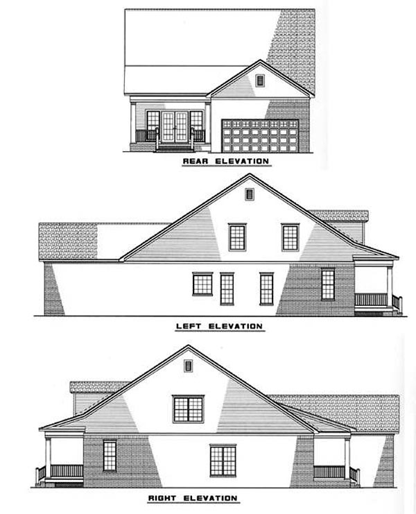 Country Southern House Plan 61011 Rear Elevation
