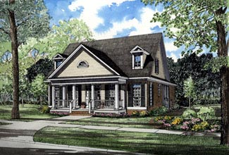 Colonial Southern House Plan 61013 Elevation