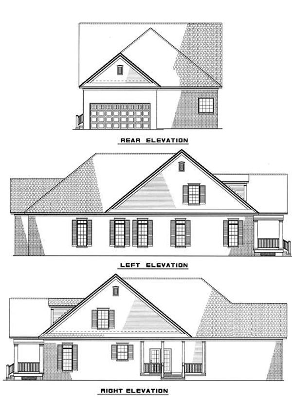 Colonial Southern House Plan 61013 Rear Elevation