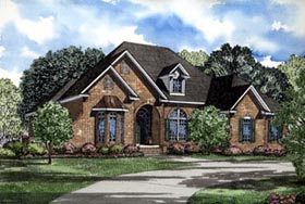 European House Plan 61015 with 4 Beds, 3 Baths, 2 Car Garage Elevation