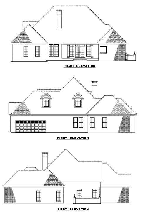 European House Plan 61015 Rear Elevation