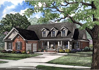 Country, Southern House Plan 61016 with 4 Beds, 2 Baths, 2 Car Garage Elevation